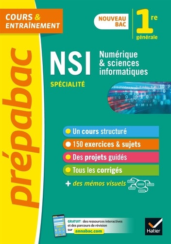Couverture de Prépabac - Cours & entraînement : Numérique et sciences informatiques, 1re